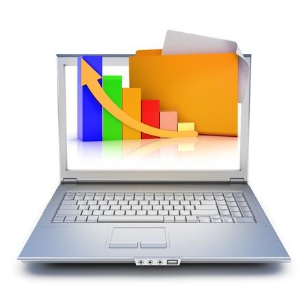 Laptop met bestandsmappen en grafiek extruderen van het scherm op een witte achtergrond