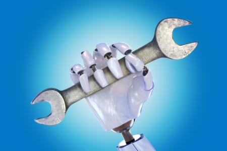 Robot hand with wrench, automated industry , repair,cyber technology ect  concept on a gradient background