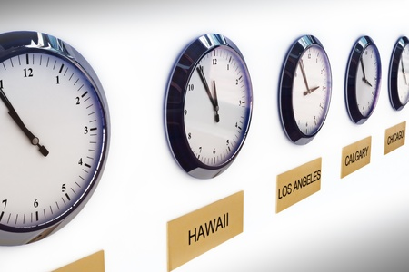 world locations: Timezone clocks showing different times of world locations  Stock Photo