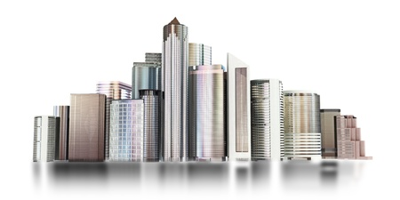 city view: 3d city skyline on a white background   Stock Photo