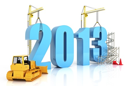 Year 2013 growth, building, improvement in business or in general concept in the year 2013, on a white background    photo