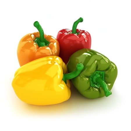 Peppers, arrangement of four different colorful Bell peppers Stock Photo - 14877752