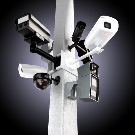 Surveillance mega camera s concept with a gradient background