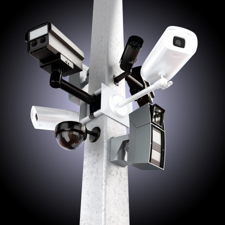 video surveillance: Surveillance mega camera s concept with a gradient background