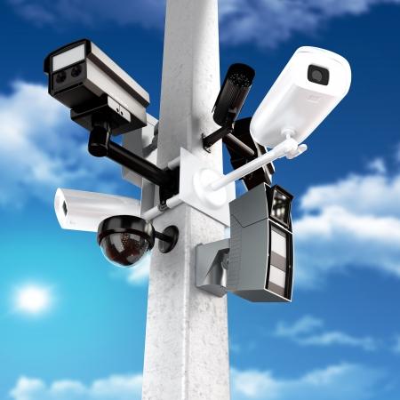 Surveillance mega camera s concept with a sky background