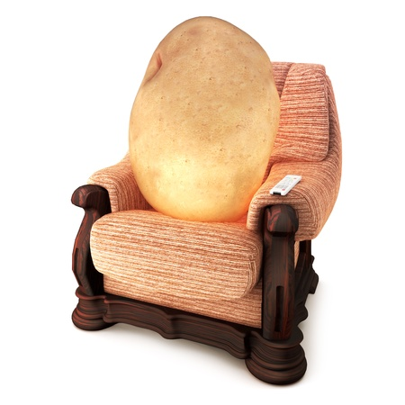 couches: Couch Potato, Humor, potato on a couch with a remote on a white background