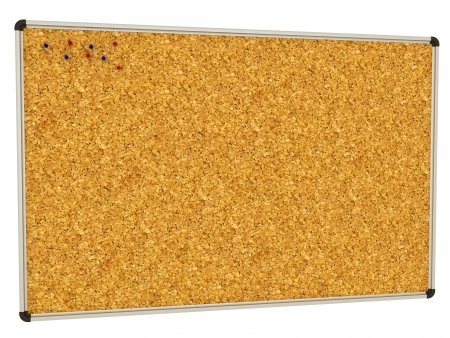 Cork-board background with push pins angled with room for copy space on a white background  Stock Photo