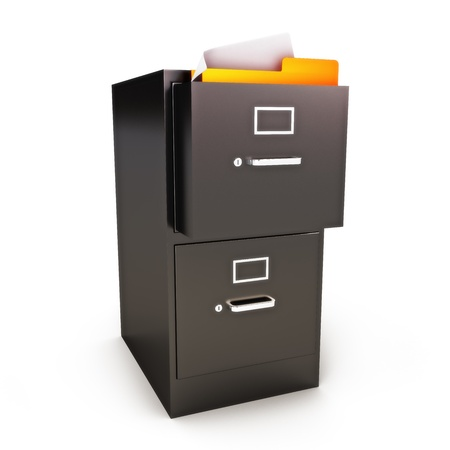 File Cabinet with files on a white background  photo