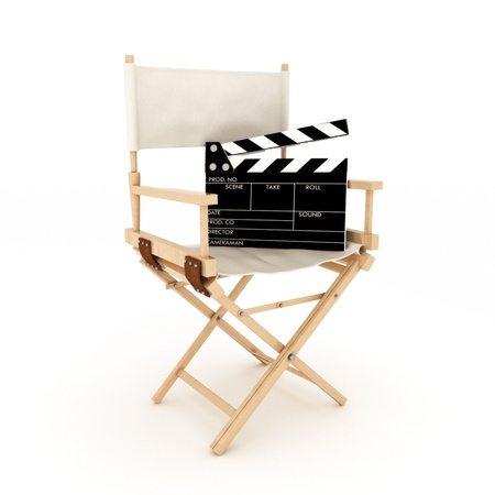 creative shot: Directors chair with clapper Stock Photo