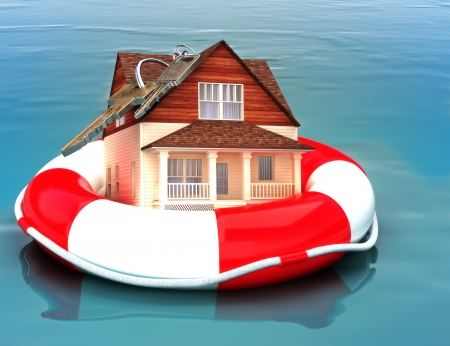 recovering: Home floating on a life preserver  Symbolizing a recovering housing economy, flood protection, home salvage , bailout, ect