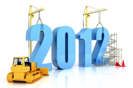 2012 growth, building, improvement in business or in general concept in the year 2012, on a white background  photo