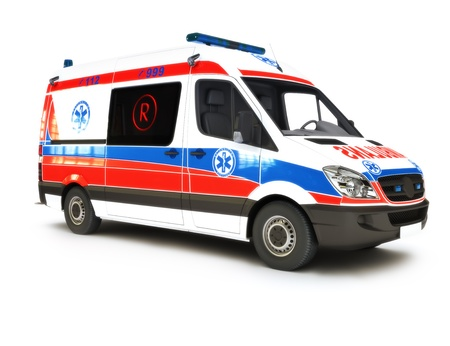ambulancia: Ambulancia Europea sobre un fondo blanco, que forma parte de una primera serie de respuesta
