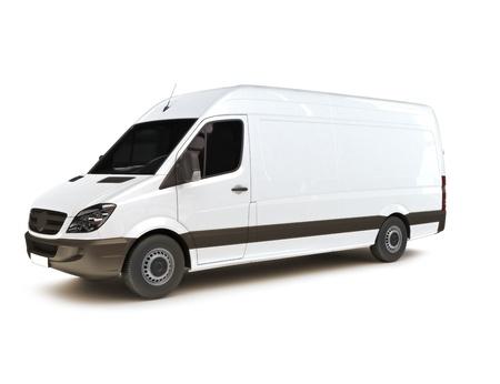 transporte de mercancia: Industrial van sobre un fondo blanco, espacio para el espacio de texto, logotipo o copia