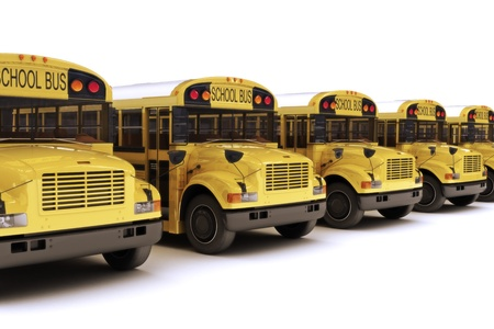 public school: School buses with white top in a row isolated on a white background  Stock Photo