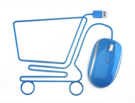 Les achats en ligne, la souris bleue sous la forme d'un panier