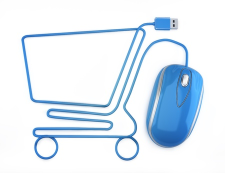 e shop: Online shopping, blue mouse in the shape of a shopping cart  Stock Photo