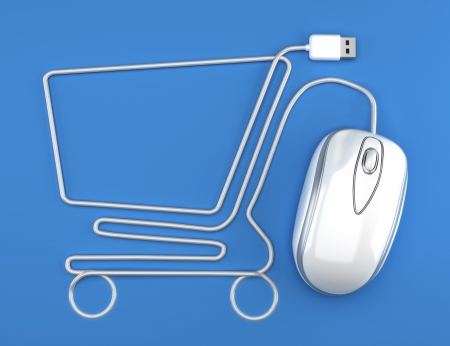 e shop: Online shopping, White mouse in the shape of a shopping cart Stock Photo