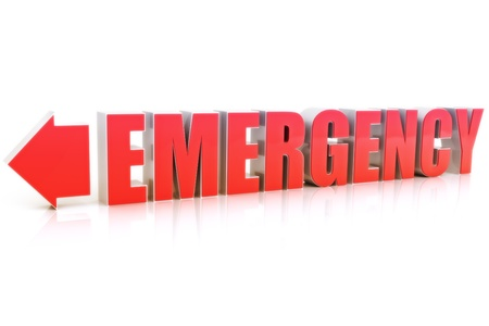 medical emergency service: Emergency text with reflection on a white background