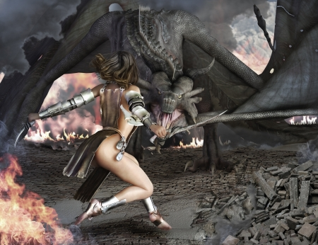 creature of fantasy: Dragon Slayer, female sexy warrior engaged with an ancient dragon