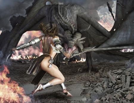 guerrero: Dragon Slayer, guerrero femenino sexy comprometidos con un antiguo drag�n Foto de archivo