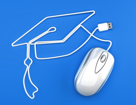 Online education, or online degree concept white mouse photo