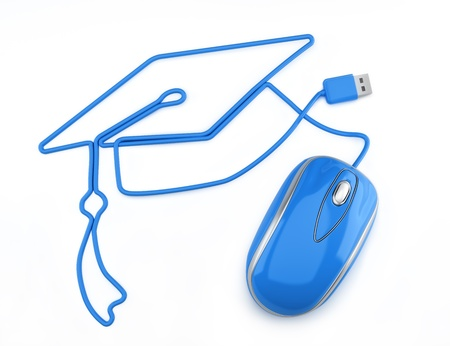computer training: Online education, or online degree concept  Blue mouse