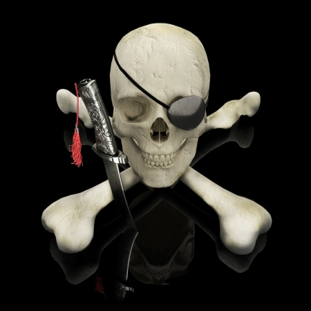 eye patch: Pirate skull and crossbones with eye patch and dagger Stock Photo