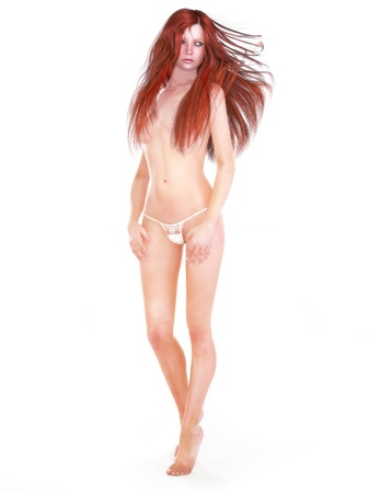 partially nude: Female redhead model partially nude,white background 3d model render Stock Photo