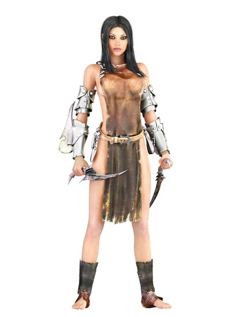 Female warrior,white background, photo realistic 3d render