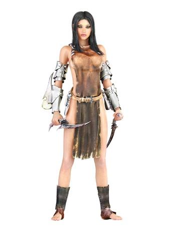 Female warrior,white background, photo realistic 3d render Stock Photo - 15363362