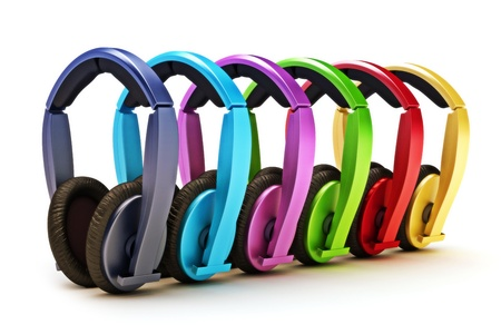 Colorful headphones on a white background  photo