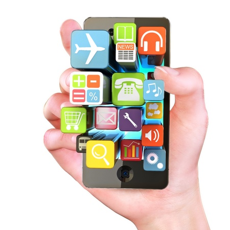 mobile phone icon: Hand holding Smartphone apps,touchscreen smartphone with application software icons extruding from the screen, isolated in white Stock Photo