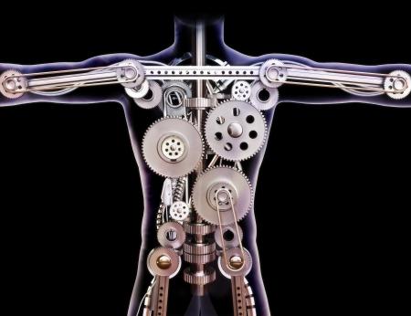 partes del cuerpo humano: Xray Hombre humana con engranajes internos en un fondo negro Construido como una máquina o un concepto futurista