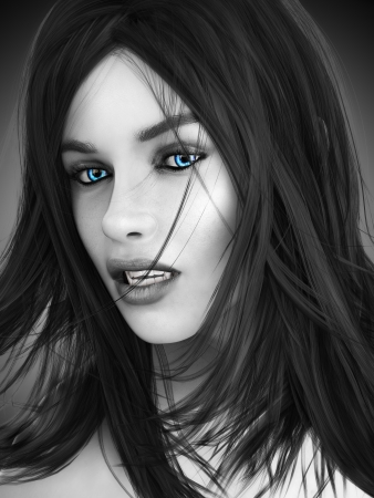 3d vampire: Female vampire, black and white image with colored blue eyes  Photo realistic 3d model