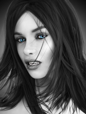 Vrouwelijke vampier, zwart-wit beeld met gekleurde blauwe ogen fotorealistische 3D-model Stockfoto