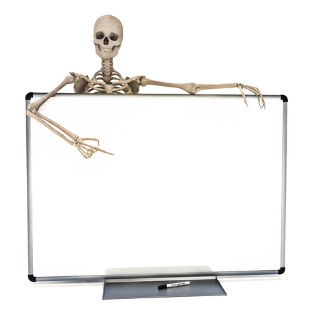 Skeleton leaning over a clear marker white board pointing to advertisment  Room for text or copy space Halloween or medical concept on a white background  Stock Photo - 15363346
