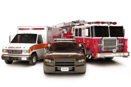 response: First responder vehicles, ambulance, police, and firetruck on a white background  3d custom models with custom decals