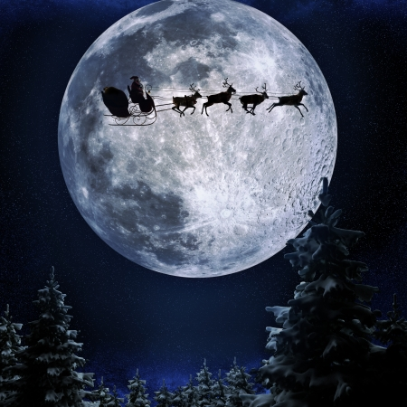 Santa flying in his sleigh against a full moon background with stars and Christmas tree s Moon texture courtesy of www nasa gov