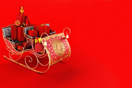 room for text: Christmas background with Sants s sleigh with presents on a red background  Room for text or copy space