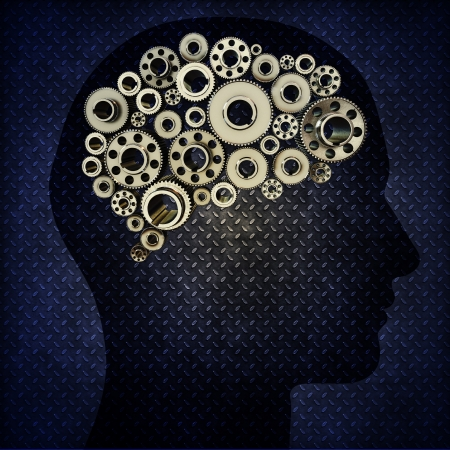 expertise: Silhouette human with gears for brains with a diamond plated blue background Stock Photo