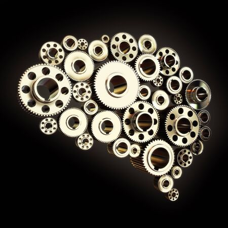 Gears in the shape of a human brain slightly angled photo