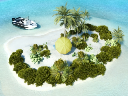 island: Paradise Island for two, boat parked at an island with yellow beach umbrella in the center  Stock Photo