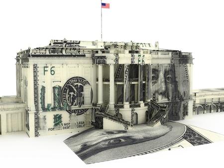 Het Witte Huis geweven met $ 100,00 dollar biljetten. Overheidsuitgaven, Overheid fondsen, politiek concept. Stockfoto