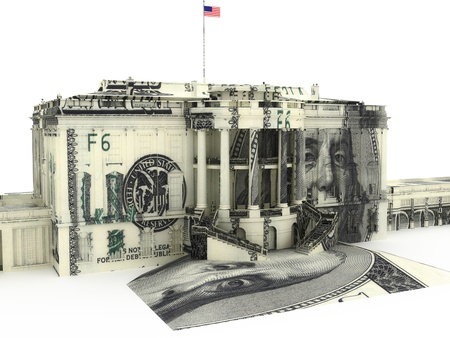 office politics: The White house textured with $100.00 dollar bills. Government spending, Government funds, political concept.