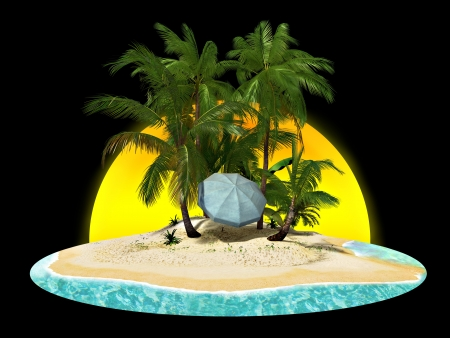 isle: Paradise island with palms and a beach umbrella on a black background  Stock Photo