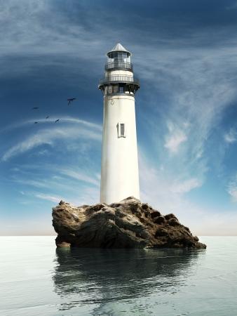 바위 섬에 오래 된 등대의 일보기
