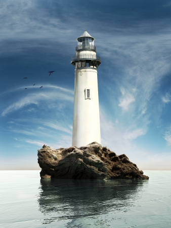 Day view of a old lighthouse on a rock island photo