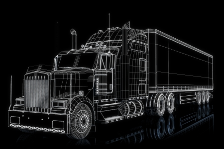 Camion 3d wireframe Banque d'images - 16174372