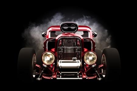 Hotrod met rook achtergrond, 3d model