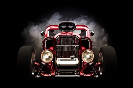 Hotrod with smoke background, 3d model photo